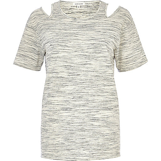 Grey marl cold shoulder t-shirt