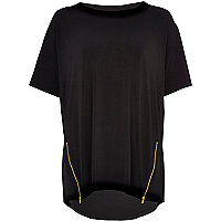Black zip trim oversized t-shirt