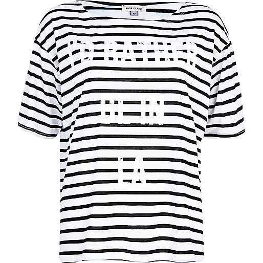Black LA print striped boxy t-shirt