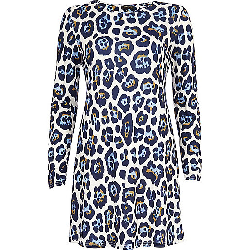 Blue graphic animal print swing dress