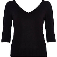 Black V neck 3/4 sleeve top