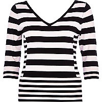 Black stripe V neck 3/4 sleeve top