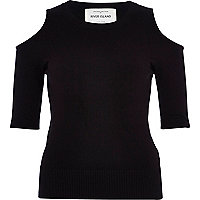 Black cold shoulder knitted top