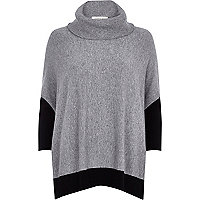 Grey colour block boxy roll neck jumper