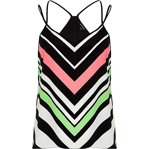 Black chevron print V neck cami top