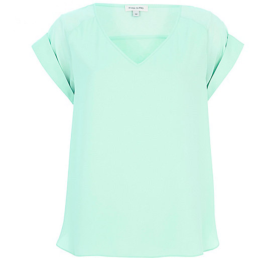 Light green V neck woven t-shirt