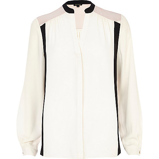 Cream colour block blouse