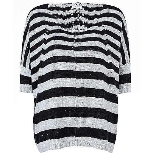 Black stripe slouchy sequin jumper