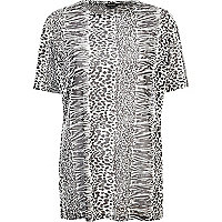 Black and white animal print tunic