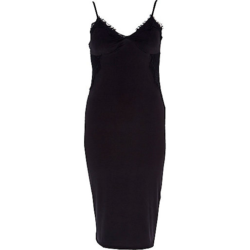 Black lace insert slip dress