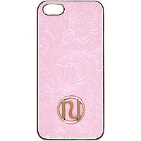 Pink floral embossed iPhone 5 case