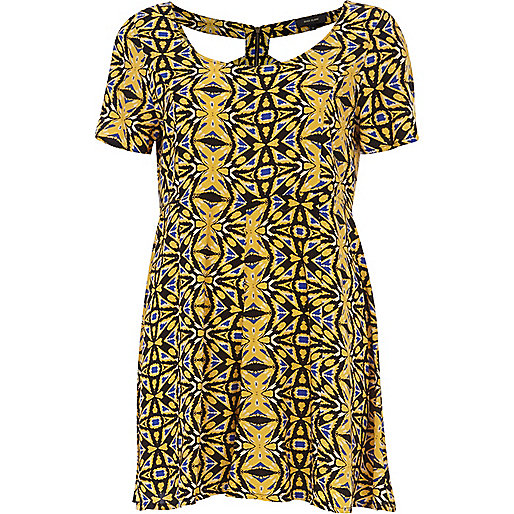 Yellow tribal print cut out smart playsuit