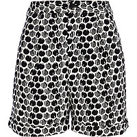 Black and white spot print shorts