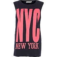 Navy NYC New York print tank top