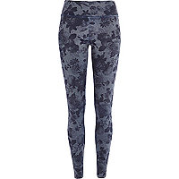 Denim-look floral print high waisted leggings