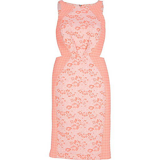 Pink floral and check cut out pencil dress
