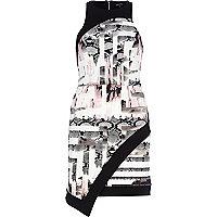 Pink geometric snake print wrap dress