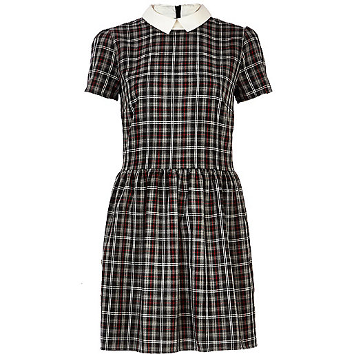 Black tartan contrast collar skater dress