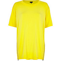 Yellow zip trim oversized t-shirt