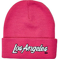 Pink Los Angeles beanie hat