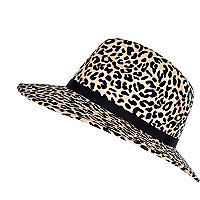Beige animal print fedora hat