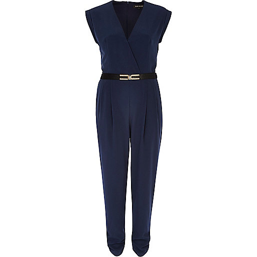 Navy blue wrap front belted jumpsuit
