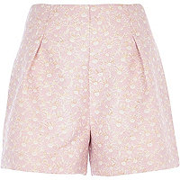 Light pink daisy jacquard high waisted shorts