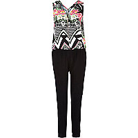 Black abstract print smart jumpsuit