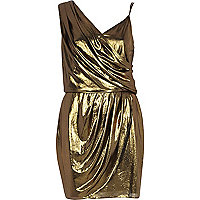 Gold metallic asymmetric slip dress