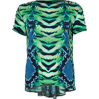 Green Katie Eary lizard print eyelet trim top