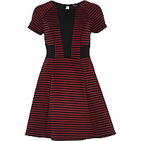 Dark red stripe panel skater dress
