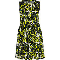 Green tropical print smock dress