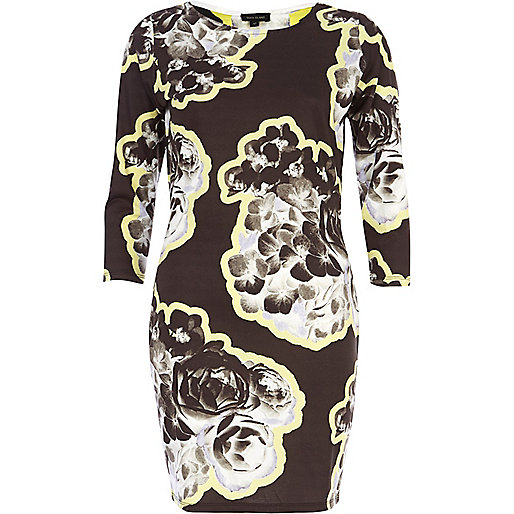 Black floral border print bodycon dress