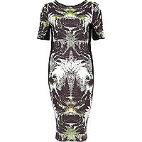 Black abstract palm print midi dress