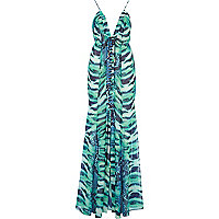 Green Katie Eary lizard print maxi dress