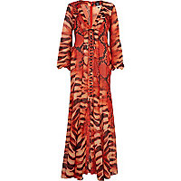 Red Katie Eary lizard print maxi dress