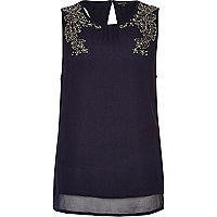 Navy embellished chiffon tank top
