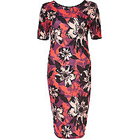 Red floral print half sleeve column dress