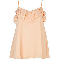 Nude frill trim cami top