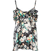 Black floral print frill trim cami top