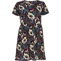 Dark grey floral print smock dress