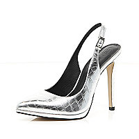 Silver metallic sling back court shoes