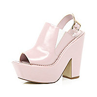 Light pink peep toe platform mules