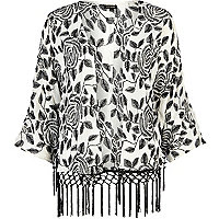 White floral embroidered fringed kimono