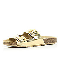 Gold metallic double strap mule sandals