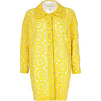 Yellow floral embroidered coat