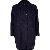 Navy floral embroidered coat