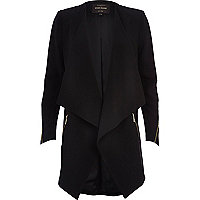 Black longline waterfall jacket