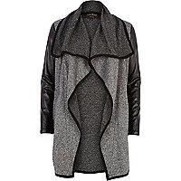 Grey boucle contrast sleeve waterfall jacket