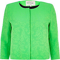 Bright green floral embossed boxy jacket